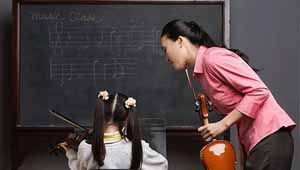 Music teacher and student